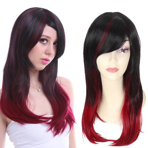 Women Fashion Wig Long Straight Black Red Ombre Hair Highlights Harajuku Party