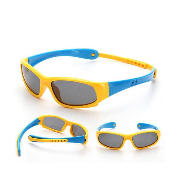 Niños Gafas de sol polarizadas para niños Gafas deportivas de seguridad Ciclismo flexible Sunglaees para niños Gafas de sol polarizadas de silicona LJJR418