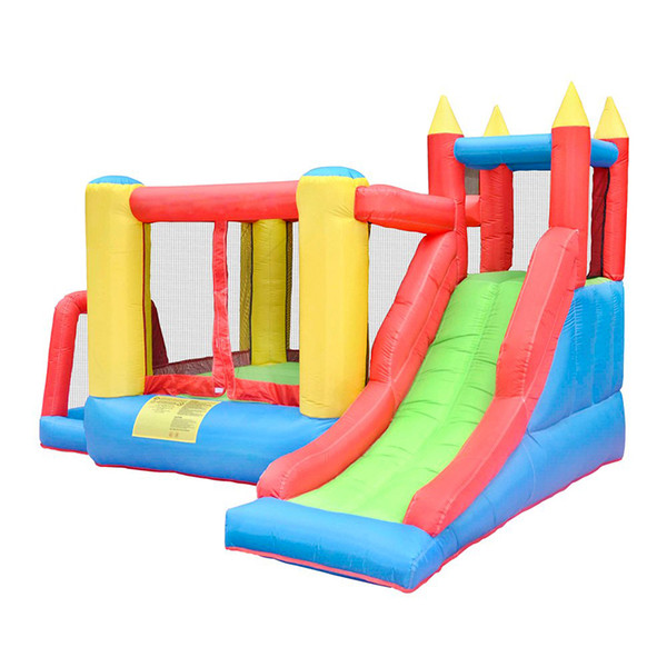 Inflatable Bounce House Play House, 5-in-1 Slide Climbing Wall, Jumping Area, Ball Pool,Basketball Hoop