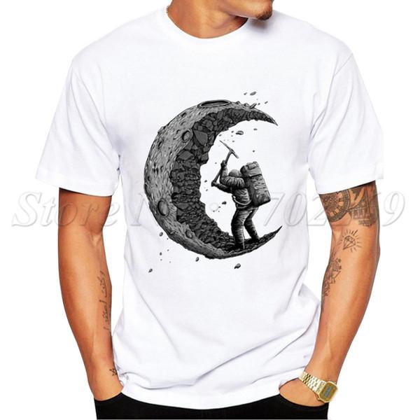 2019 Новая мода копать Луну Дизайн Мужская футболка Лето с коротким рукавом Повседневная Топы Футболки Hipster