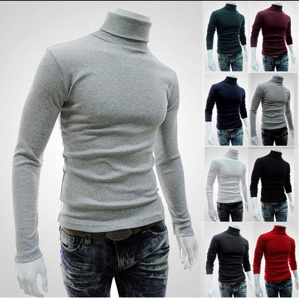 Autumn Winter Men's Sweater Men'S Turtleneck Solid Color Casual Sweater Men's Slim Fit Brand Knitted Pullovers