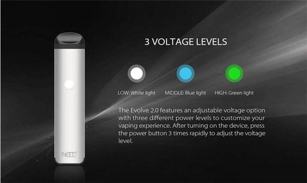 vape100% Kit originale Yocan Evolve 2.0 Starter WAX Preriscaldamento batteria VV Tensione variabile con connessione magnetica 3 in 1 Vaporizzatore Vape Cartri