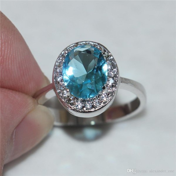 Nfn97 Size 6/7/8/9 Princess 10KT white gold filled Oval Aquamarine Gemstone Rings Gift for Women Girlfriend