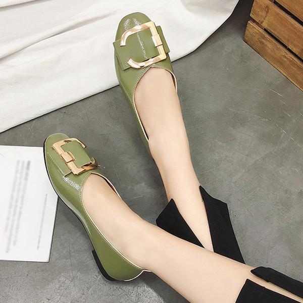 Designer Dress Shoes Women Shallow Square Buckle Slip On Low Heel Round Toe Single T80726
