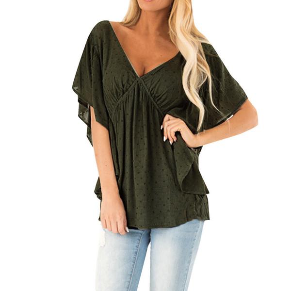 YOUYEDIAN Large Size Tunic Shirt Women V-Neck Ruched Sexy Blouse Short Sleeve Batwing Sleeve Casual Tops Blouse camisa feminina