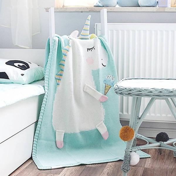 Cartoon Animal Baby Blankets Cute Newborn Swaddle Wrap Sofa Bed Plane Soft Knitted Wool Thread Blanket Gifts TTA853