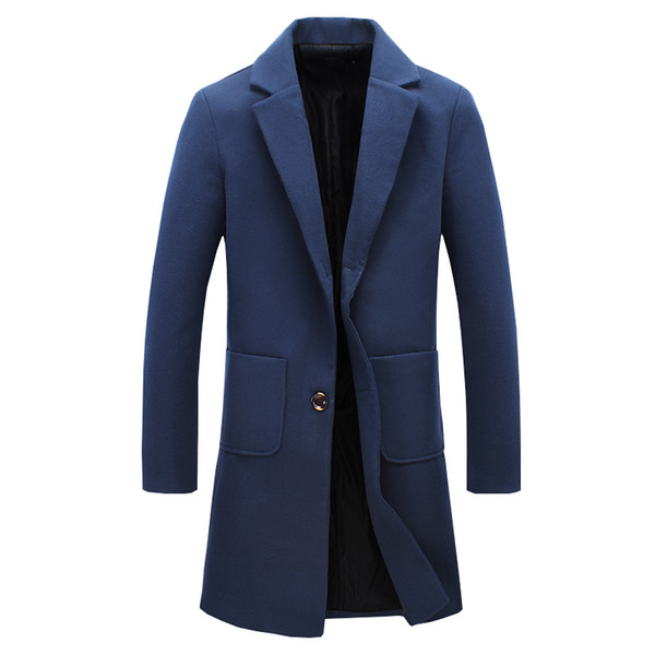 2017 Autumn Male Wool Breasted Fashion New Trend Wool Coat Slim Fit Jackets Fashion Exquisite Man Casual Pea Coat Plus Size 5XL