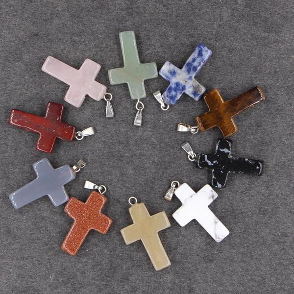 24 colores naturales colgantes de cruz de piedra natural con cadenas de cuero ágata malaquita cristal de cuarzo ópalo colgantes