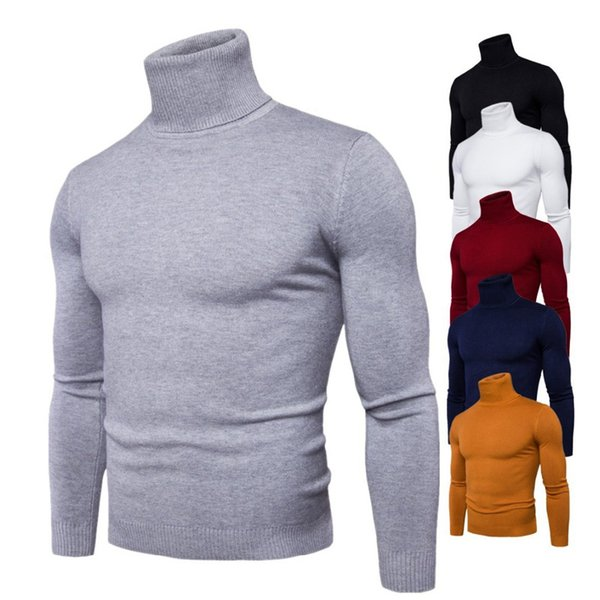 Spring Autumn New Solid Colors Pull Homme Turtleneck Sweater Dress High Elasticity Slim Pullover Men Knitwear Men Clothing 3xl SH190903