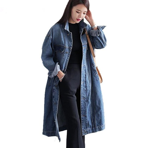 Plus Size 4XL 2019 new Spring Women Denim Windbreaker coat female Solid Loose Long jean Trench Coat Ladies Casual Outerwear p737
