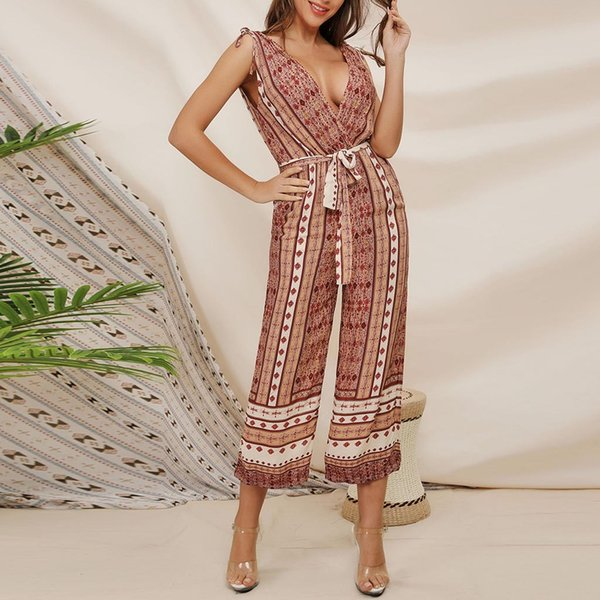 V-neck Backless Jumpsuits Chiffon Bohemian Women Summer Rompers Long Wide Leg Ladies Elegant Beach Sashes Overalls Jumpsuit