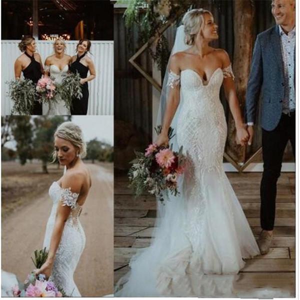 Свадебные платья русалки из богемного кружева 2019 года с открытыми плечами Свадебное платье без бретелек Тюль Пляжная пуговица Long robe de mariée