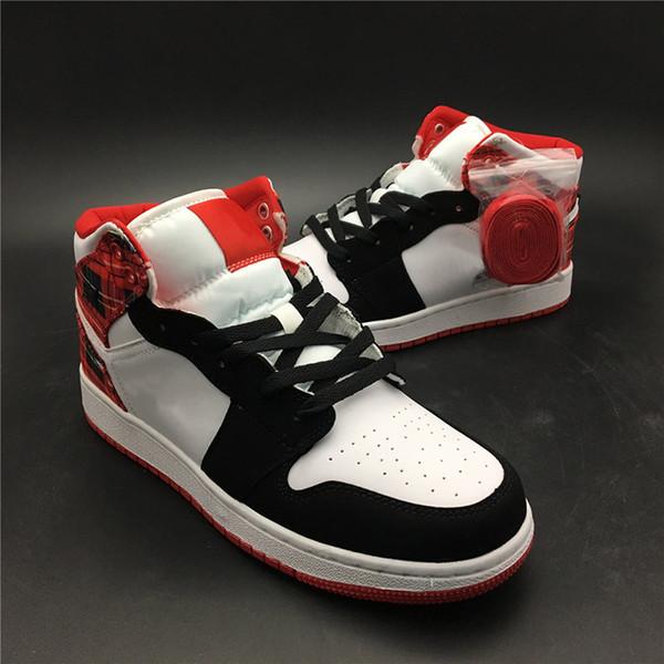 Klasik Wmoens 1 S Basketbol Ayakkabı Orta Siyah Ayak İskoç ekose Kutusu Ile Popüler Spor Sneakers Noel Sınırlı Sayıda Trend Ayakkabı
