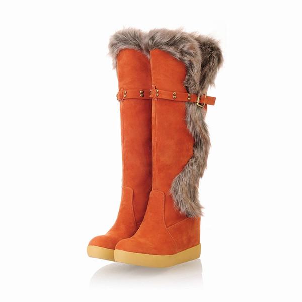 Botas de nieve para mujer Calentador de invierno Cuello de lana remaches hebilla de cinturón Botas altas, botas casuales con fondo grueso, botas gruesas para la nieve de pelo grueso