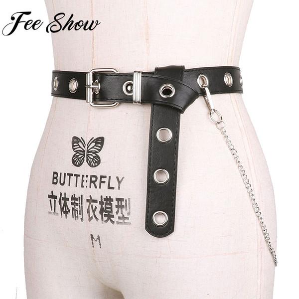 Black Detachable Waist Belt Chain Punk Hip-hop Trendy Women Belts Lady Fashion silver Pin Buckle PU Leather Waistband Jeans