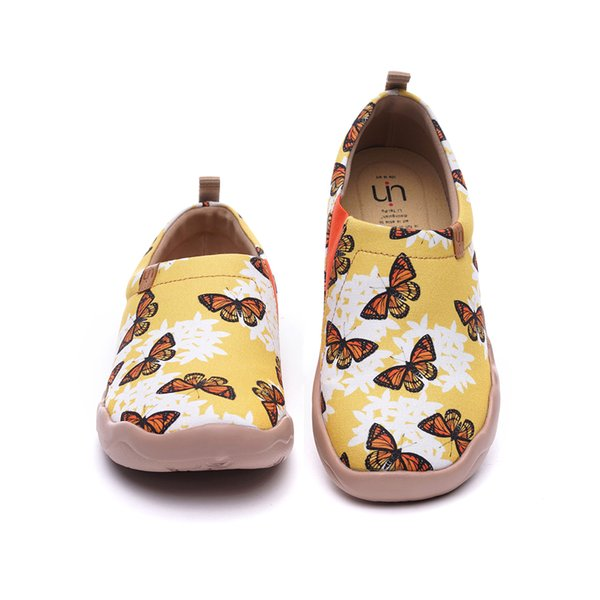UIN Drop Ship Women's Snowflake Butterfly Painted Travel Canva Shoes Fashion Art Flat Loafer Sneaker s Slip-On Ladies Loafer Free delivery