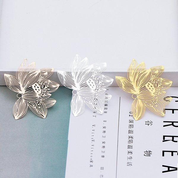 5pcs 51*70mm DIY silver gold copper metal lotus filigree flower charms pendant brass bookmark Chinese classic creative gift