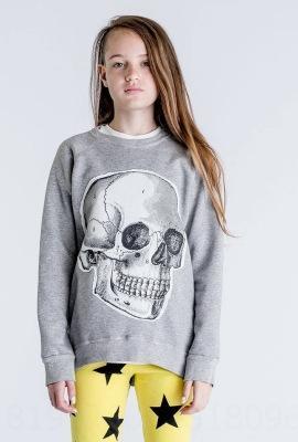 142-3D suéter esqueleto (gris)