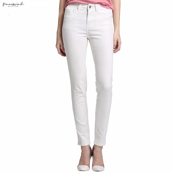 Узкие джинсы Женщина Женщины Девушки джинсы для высокой талией Stretch джинсы женские брюки Ацетат Укороченный Белый Drop Доставка