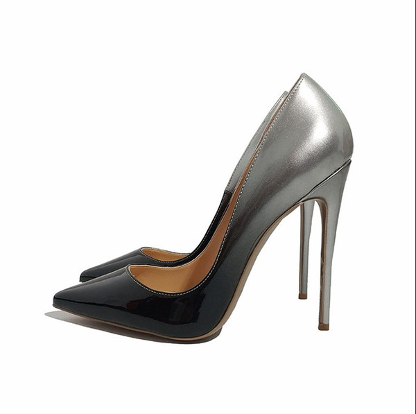 Casual Designer Sexy lady fashion woman Black Silver Women High Heels Shoes Sexy Slip on pointed toe heels Size 44 womens high heels shoes