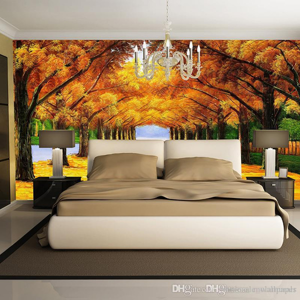 custom wall mural Modern art painting high quality mural golden yellow forest 3d living room TV backdrop oil painting mural wallpapers