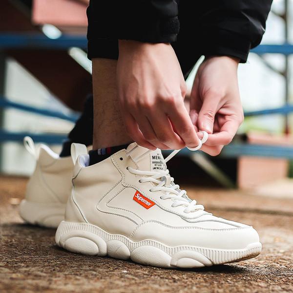 2019 Spring New Chunky Sneakers Donna Casual Scarpe con piattaforma Harajuku Dad Scarpe Moda Suola di orso Pu Leahter Sneakers bianche
