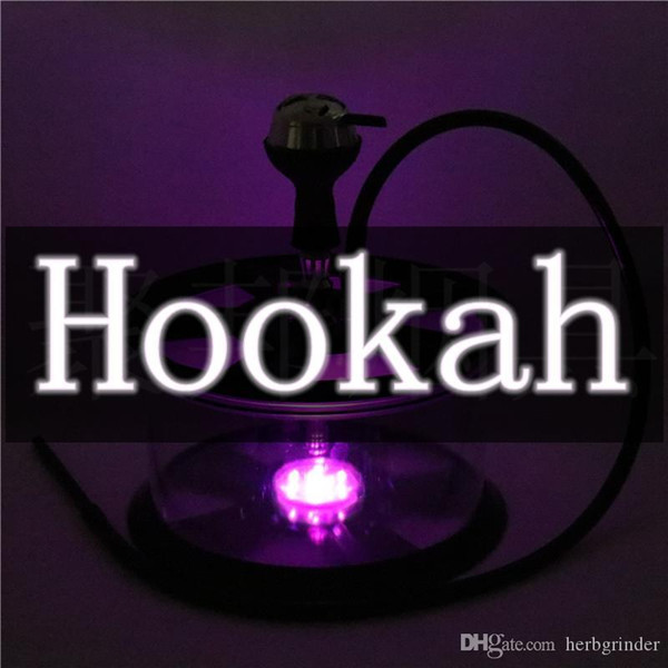 Colorful Electronic Night Lamp Hookah Shisha Kit Sets Tire Shape Smoking Pipe Acrylic Large Volume Innovative Design Luxury Enjoyment DHL