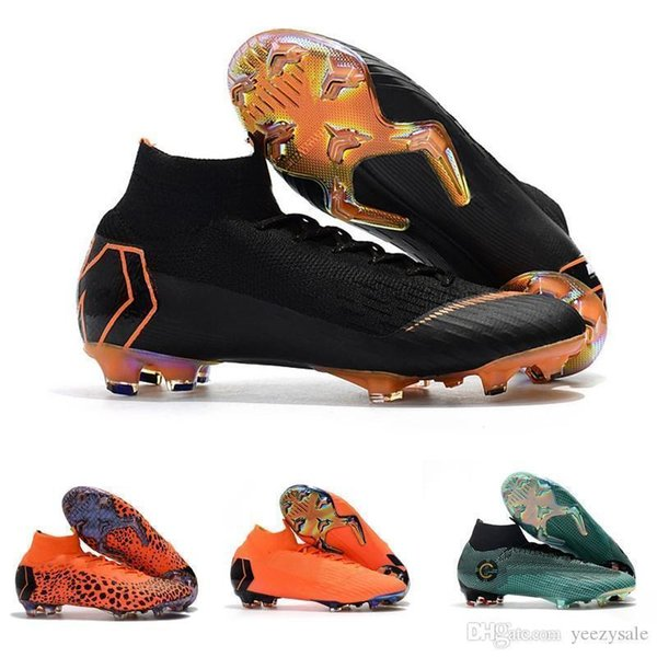 Quality Top Mens Soccer Cleats Mercurial Superfly Vi 360 Elite Ronaldo Fg Soccer Shoes Chaussures De Football Boots High Ankle Cheap