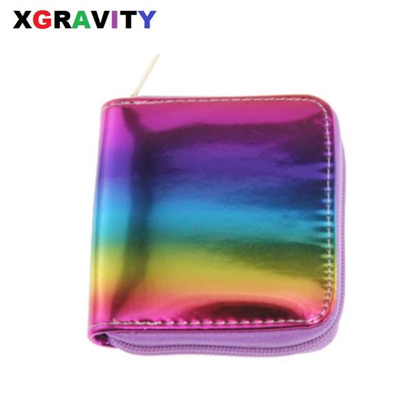 Xgravity European Laser Rainbow Portafoglio colorato Nuovo Graffiti Ladies Borsa corta Moda Donna Leisure PU Square Card Bags H019