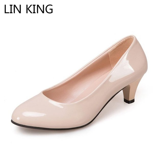 LIN KING Mature Patent Leather Women Pumps Slip On Shallow High Heel Shoes Leisure Ladies Office Dress Mom Pumps Plus Size 42 #9752