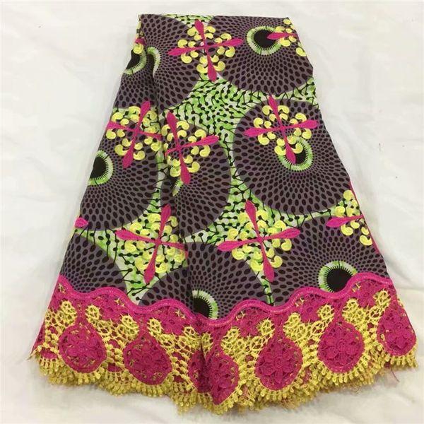 Latest apparel wax material African ankara batik cotton wax cord lace fabric for dress WLF206(6yards/lot)