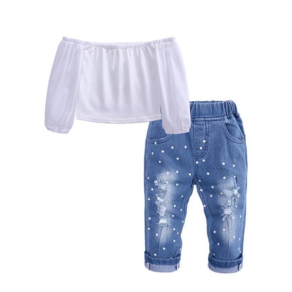 Fashion Children Girls Clothing Sets Baby Off Shoulder Crop Tops White+ Hole Denim Pant Jean Headband 2PCS Toddler Kids Clothing Suit