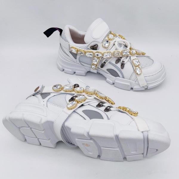 Mais novo Flashtrek Sapatilha com Cristais Removíveis Homens Sapatos de Grife De Luxo Moda Casual Designer De Luxo Mulheres Sapatos Tênis Tamanho 35-45