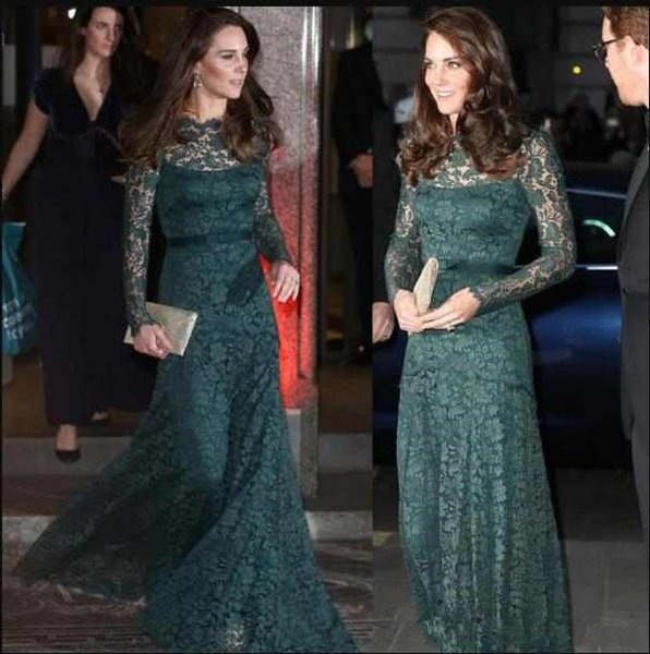 2018 Celebrity Kate Middleton Lace Evening Dresses with Long Sleeves Zipper Back Mother of the Bride Dresses for Prom