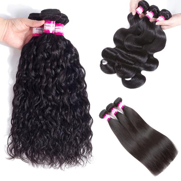 Malaysian Filipino Peruvian Body Wave Virgin Hair Bundle Deals 8A Brazilian Straight Water Wave Remy Human Hair Extensions 3 4 5pcs Dyeable