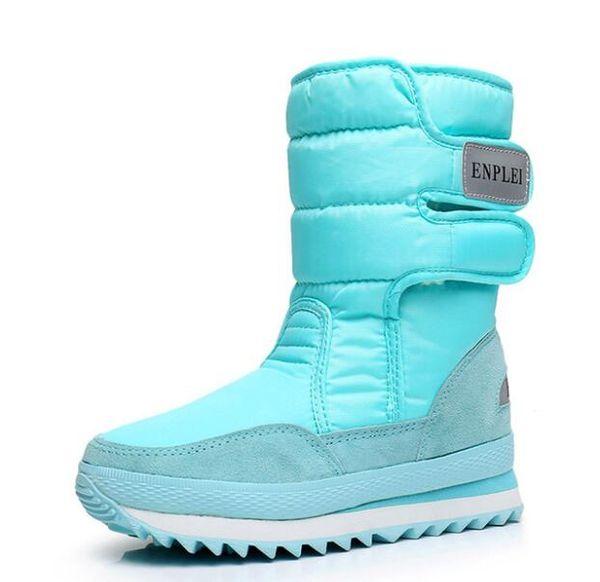 Sıcak Kadın Kar Ayakkabıları Kürk Peluş Kış Çizmeler Kadınlar Için Düz Su Geçirmez Orta Buzağı Çizmeler Siyah Beyaz Kırmızı ADF-982