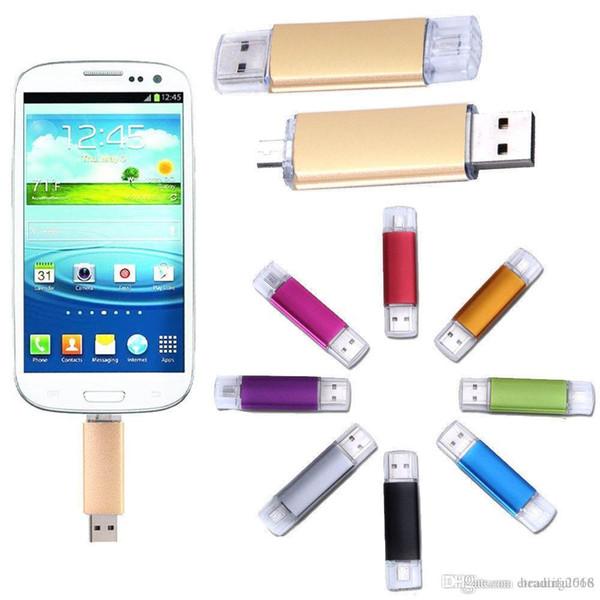 Capacité réelle de conception 64 Go OTG Dual Micro USB Flash Pen Memory Stick Memory Stick pour téléphone PC