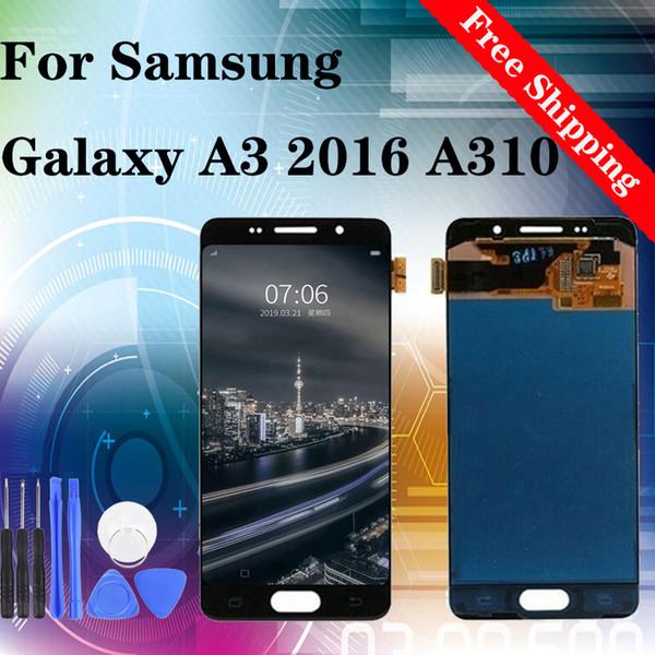 Vendita calda! Fabbrica! Migliore prezzo! Riparazione per la sostituzione dello schermo LCD per Samsung A3 2016 A310 di trasporto 100% provato TFT luminosità regolabile