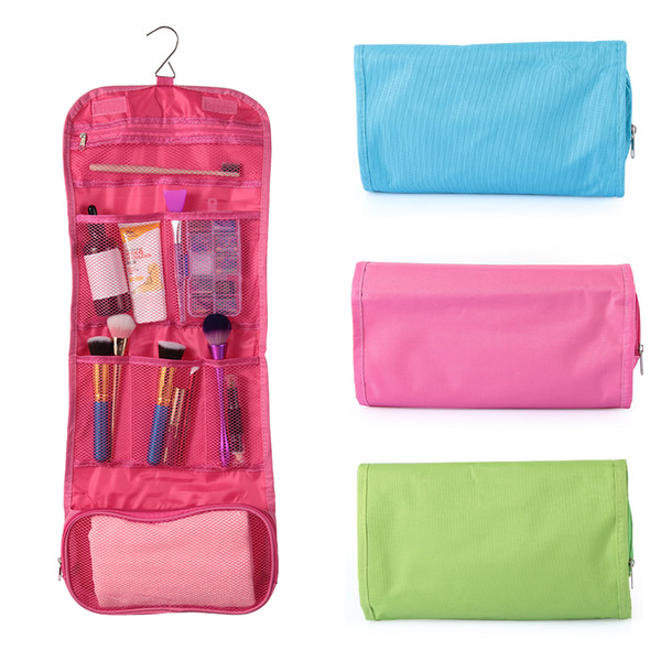 1PC Hot Sale Women Travel Toiletry Bag Polyester Organizer Cosmetic Case Large Capacity Makeup Bag Hanging Foldable For Bathroom