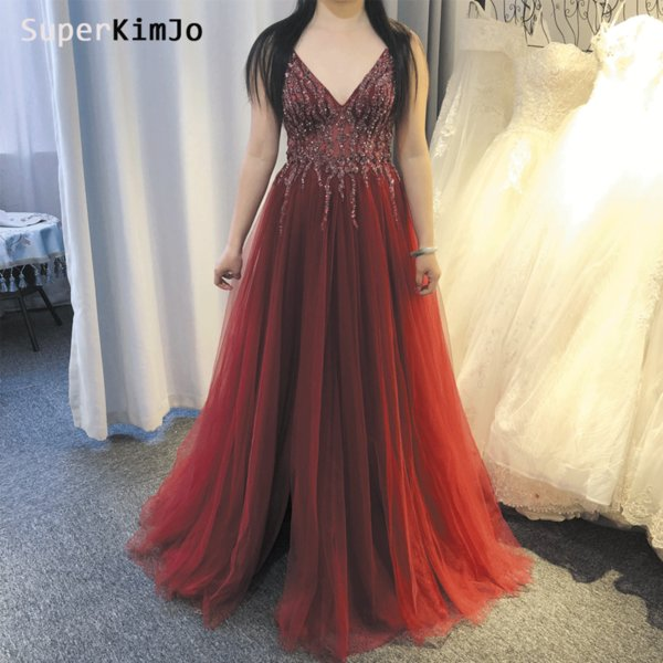 Real Burgundy Prom Dresses 2019 Beaded Crystal Sexy Deep V Neck Pearls Beading Sequins Side Slit Floor Length Wine Red Evening Dresses