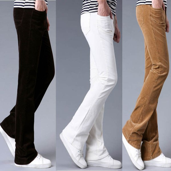 Mens Flared Trousers Corduroy Flare Pants Men Bell Bottom Classic Autumn Corduroy Trousers Men Pantalon Homme Black White Khaki