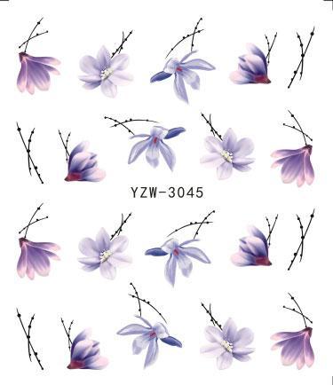 Nail Sticker Optional Blossom Bunte Blume Rose Valentine Wasser Voll Wraps Nail Art Decals Charms Tipps