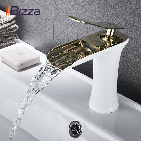 top popular Basin Faucet Black Waterfall Bathroom Faucets Hot Cold Water Basin Mixer Tap Chrome Brass Toilet Sink Water Taps Crane Gold 1401 T200107 2021