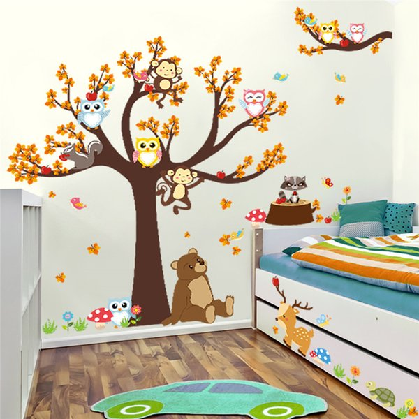Árbol del bosque Rama hoja Animal Cartoon Owl Monkey Bear Deer Pegatinas de pared para habitaciones de niños Niños Niñas Niños Dormitorio Decoración para el hogar