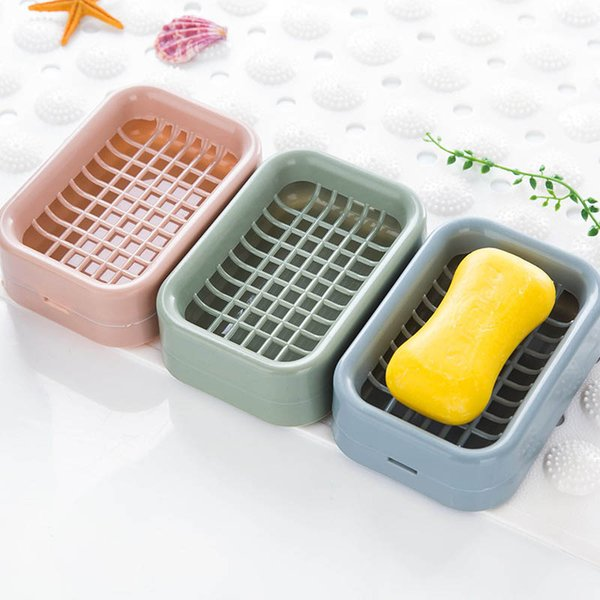 Soap Holder Double-layer Bathroom Accessories Plastic Shower Soap Dish Non-slip Draining Tool Drainage Soap Box