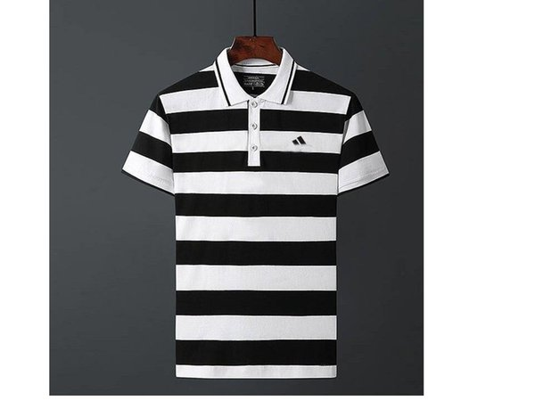 top popular Summer men's short-sleeved t-shirt cotton lapel tide brand polo shirt striped loose trend compassionate clothes lovers 2019