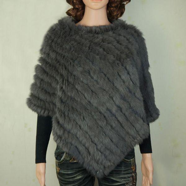 YCFUR Warm Winter Shawls Ponchos For Women Handmade Knit Real Rabbit Fur Poncho Women Scarves Shawls With Fur Collar Trims D19011004