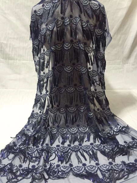 2018 High quality african french sequine trim Embroidered African Guipure French Lace Fabric for party dresse