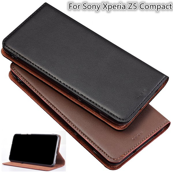 QX05 Genuine Leather Magnetic Phone Bag Kickstand For Sony Xperia Z5 Compact Case For Sony Xperia Z5 Compact Phone Case Card Slot