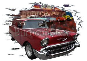 1957 Red Chevy Sedan Entrega Costume Hot Rod Diner T Shirt 57 Muscle Car Tee 039 s